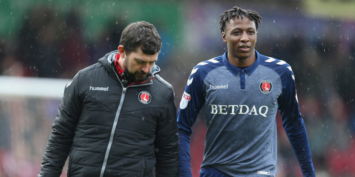 NORTHAMPTON, ENGLAND - MARCH 30:  Joe Aribo of Charlton Athletic leaves the pitch with Alastair Thrush during the Sky Bet League One match between Northampton Town and Charlton Athletic at Sixfields on March 30, 2018 in Northampton, England.  (Photo by Pete Norton/Getty Images)